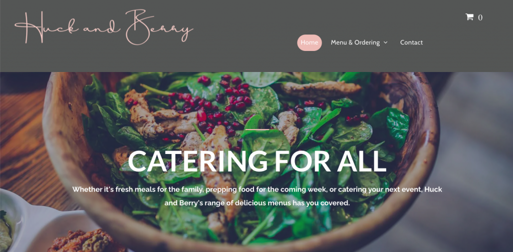website design and build - rikkiwebster.com for huck and berry catering