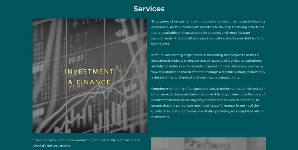 rikkiwebster.com website design and build arched group education investment 1