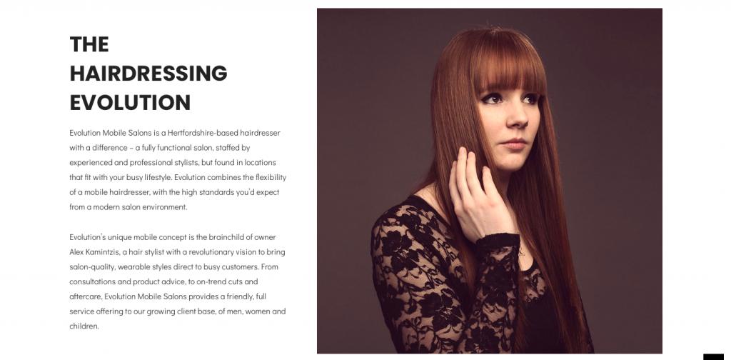 rikkiwebster.com website design and build evolution mobile salon hairdressing 1