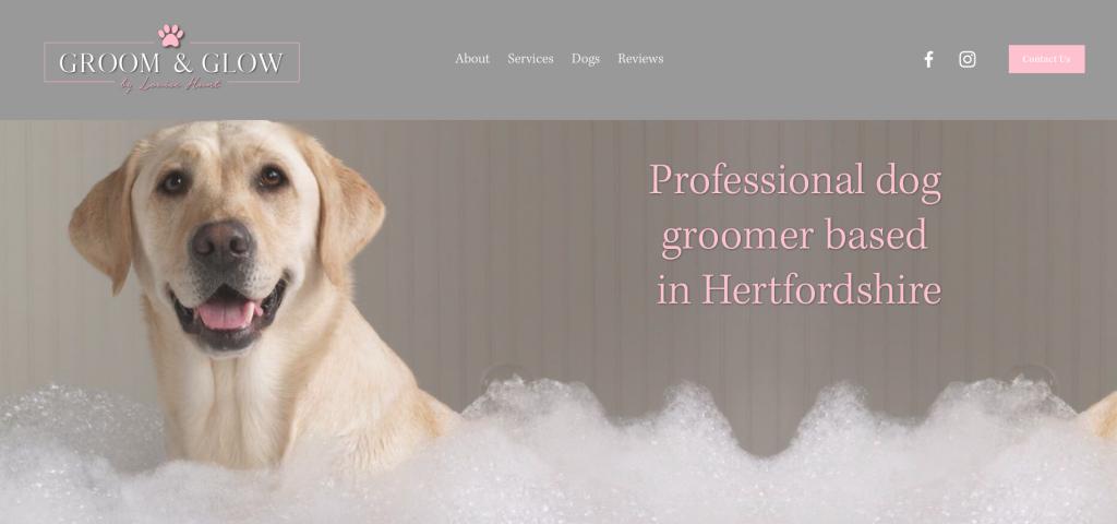 website design and build groom and glow dog groomers rikkiwebster.com