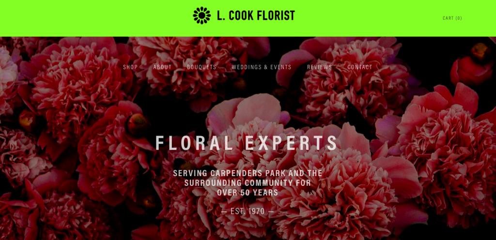 l cook florist website design and build rikkiwebster.com 2